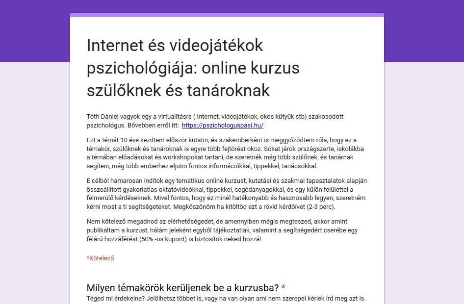 Internet és videojátékok pszichológiája: online kurzus szülőknek és tanároknak